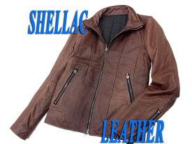 【中古】○シェラック SHELLAC レザージップジャケット ラムレザー 羊革 ヴィンテージ加工 メンズ 美ライン ライダースジャケット