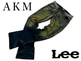 【中古】■AKM×Lee エーケーエム×リー■コラボ デニムパンツ ブーツカット クラッシュリペア USEDヴィンテージ加工 95795 メンズ