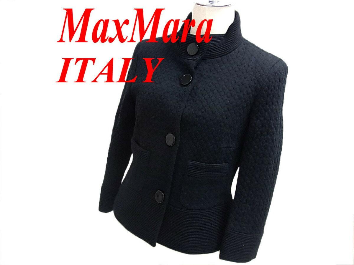 【中古】◎良品◎マックスマーラ ジャケット 七分袖 イタリア製 スタンドカラー MaxMara MARELLA マレーラ レディース アウター