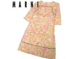 【未使用】◎未着用品 マルニ ワンピース シルク混素材使用 春夏物 MARNI サマーワンピース 花柄 レディース 透け感あり