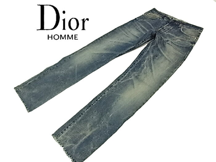 【中古】◇ディオールオム◇ダメージジーンス デニムパンツ ストレート インディゴブルー イタリア製人気モデル DiorHOMME
