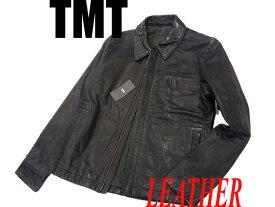 【未使用】○タグ付き TMT レザージャケット レザーブルゾン ジップジャケット ダメージ加工 牛革 ブラック 黒 メンズ 正規品 未使用