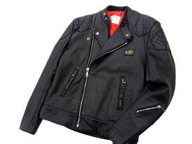 【中古】○ルイスレザー 美品 スーパーモンザ レザーライダースジャケット 革ジャン ブラック Lewis Leathers AVIAKIT 激シブ レッドキルティング メンズ