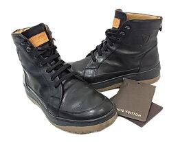 【中古】◇ルイヴィトン◇レザーハイカットスニーカー ショートブーツ メンズ 革靴 人気モデル ブラック LVロゴ スペアシューレース付 イタリア製 LOUIS VUITTON