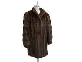 【中古】◇クリスチャンディオール◇クロスミンク毛皮コート 最高級 ダークブラウン レディース 毛艶良好 ロゴ刻印入