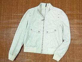 【中古】◇ディオールオム◇ラムレザージャケット リブニット オフホワイト 羊革 メンズアウター イタリア製 Dior HOMME