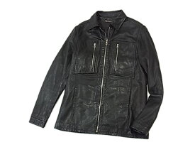 【中古】◇ルイヴィトン◇ラムレザーフィールドジャケット フルジップ 裏モノグラムフラワー 2種類レザー メンズ 美ライン LOUIS VUITTON