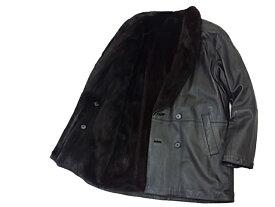 【中古】◇ミンク毛皮/レザー コート/ジャケット リバーシブル ブラック メンズ 人気モデル 激シブ 紳士服 MINK/LEATHER 最高級