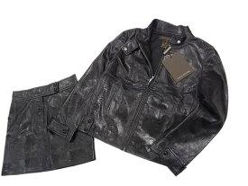 【未使用】○ルイヴィトン レザースーツ スカートスーツ セットアップ レディース LOUIS VUITTON ラムレザー 羊革 ブラック 黒色 タグ付き 未使用