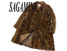 【中古】◇高級毛皮 美品◇サガミンク シェアードミンクコート 毛艶 毛並 皮質 良好 SAGA MINK レディース  裏地 ペイズリー柄