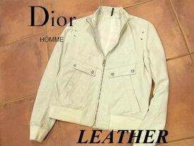 【中古】◇エディー期 羊革◇ディオールオム Dior HOMME◇ラムレザージャケット リブニット イタリア製 メンズアウター