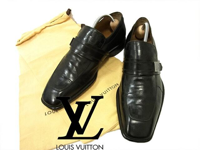 【中古】イタリア製○LV ルイヴィトン ダミエ レザーシューズ 革靴 黒 本革