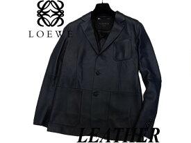 【未使用】◇未着用 最高級◇ロエベ LOEWE レザージャケット ロゴ刻印ハンガー付 スペイン製 LVJグループタグ 2014年(Size:48