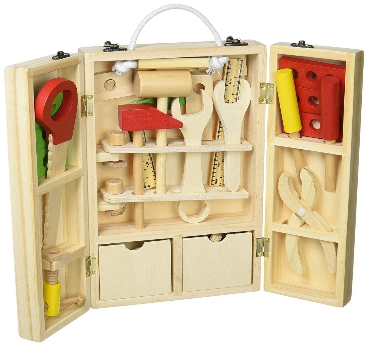 【新入荷】今だけポイント2倍! 収納できる 木製ツールボックス トントン 大工さんセット 【知育玩具】木のおもちゃ  男の子  誕生日プレゼントに!