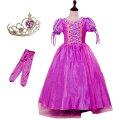 子供 用 プリンセス ドレス コスチューム ラプンツェル コスチューム ドレス アームカバー ティアラ 3点セット パープ…