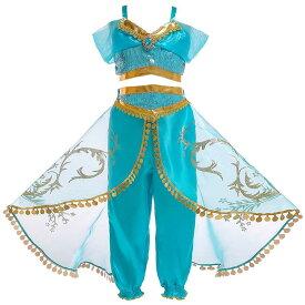 ジャスミン 風 コスプレ アラジン風 子供 ドレス なりきり セットアップ キッズドレス 上下2点セット 衣装 キッズ