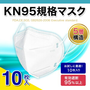 【期間限定 ポイント5倍】 【国内在庫あり】マスク KN95 10枚入 米国N95同等マスク 不織布マスク 3D立体 5層構造 男女兼用 大人サイズ 防塵マスク 防護マスク 飛沫防止