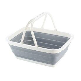 折りたたみバケツ シリコン 洗い桶 シリコン 折りたたみ かご キッチン 折りたたみ バケツ キャンプ モノトーン グレー シリコーン おしゃれ 洗濯機 ハイキング アウトドアに最適(取っ手付き 長方形)