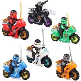 忍者 ゴー ミニフィグ ブロック 6体 + バイク 6台 セット ミニフィギュア 互換 6体バイクセット