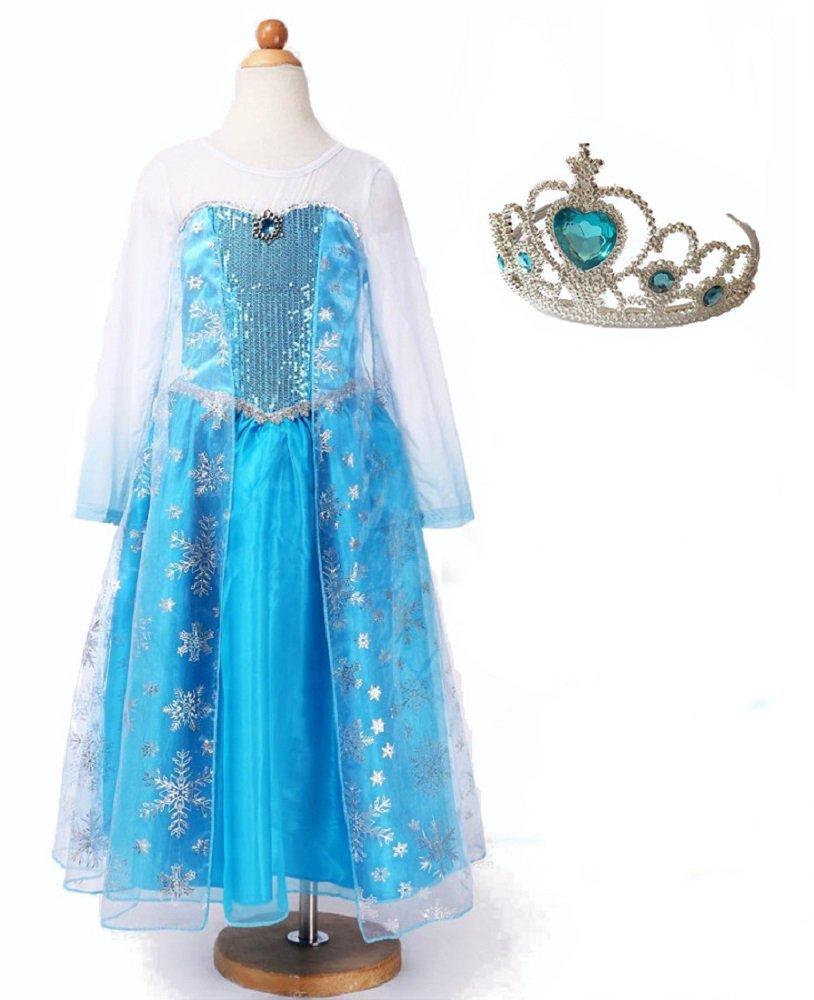 アナと雪の女王 ドレス マント付き ティアラセット キッズコスプレ衣装 女の子