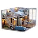 木製ドールハウス、メゾネットタイプ、手作りキットセット、ミニ家具工芸品キット、ミニチュアコレクション、付属LED…