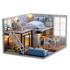 木製ドールハウス、メゾネットタイプ、手作りキットセット、ミニ家具工芸品キット、ミニチュアコレクション、付属LEDライト、音楽ボックス、防塵カバー (Blue Times)
