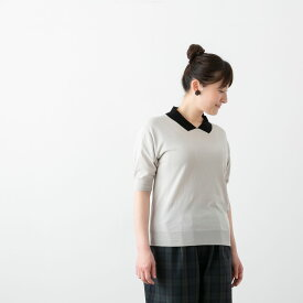 (メール便OK) STAMP AND DIARY スタンプ アンド ダイアリー だまし衿付 半袖 ニット プルオーバー 3色 SD009SSK13