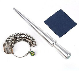 サイズ計測 リングゲージ & リング サイズ棒 セット 指輪サイズ 1号〜33号 シルバー クロス付
