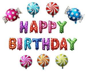 バースデーバルーン 誕生日装飾用 HAPPY BIRTHDAY & ロリポップ キャンディー20個セット