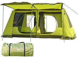 ツールームテント ライムグリーン 300cmx400cmx215cm 2ルーム UV50+ 防虫 通気性 耐水圧3000mm 収納袋付き グランドシート付き [5-6人用] [8-12人用] [並行輸入品]