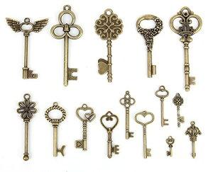 【15種類セット】 キー 鍵 チャーム ブロンズ ネックレス ブレスレット ペンダントトップ