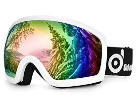 ODOLAND スキーゴーグル  防霧ダブルレンズ メガネ対応 UV400 男女兼用 (ホワイト(ノーマルサイズ))