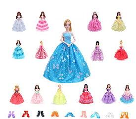 バービー 人形用服ドレス 5枚セット + バービー用靴5足 ドール用 人形用  ジェニー用 ドレス 手作り 1/6ドール用 プリンセスドレス (ランダム )