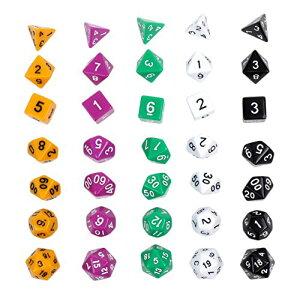 多面体 サイコロ ダイス 35個セット 4面 6面 8面 10面 12面 20面 カラフル 5色 16mm ゲーム おもちゃ