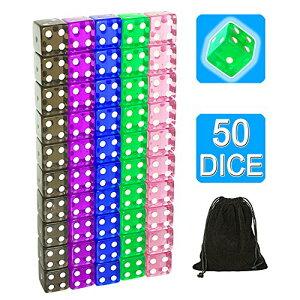 50個セット16mm ラウンドコーナー ク透明6面ダイス 5色 各10個(合計50個)セット1個きなベルベットバッグ付き サイコロ