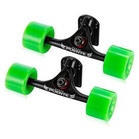 [TIWWS]2pcs スケートボードトラック/ベンチャー (スケートホイール+ライザーパッド+ベアリング+ハードウェアアクセサリーインストールツール) (グリーン)