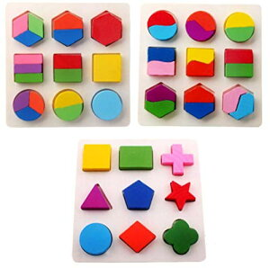 phalatina パズル 型はめ 認知 知性、想像 創造力 積み木 形合わせ 木のおもちゃ 色彩感覚 幼児 知育 玩具 正方形、長方形、ひし形 (パズル3種類セット)