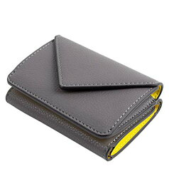 MALTA 三つ折り財布 ミニ財布 メンズ レディース コンパクト 小さい 財布 レザー 牛革 ボタン型 小銭入れ カード入れ 大容量 ツートンカラー 3つ折り グレーイエロー