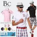 花ロゴポロ/男女サイズ ゴルフウエア ポロ メンズ レディース 半袖 ゴルフウェア 春 夏 大きいサイズあり ゴルフポロ…