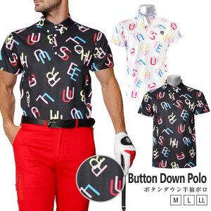 【メール便対応可】ゴルフウェア メンズ ポロシャツ 半袖 ポロ シャツ 柄 春 夏 ゴルフ おしゃれ ゴルフポロ ブルークラッシュ トップス