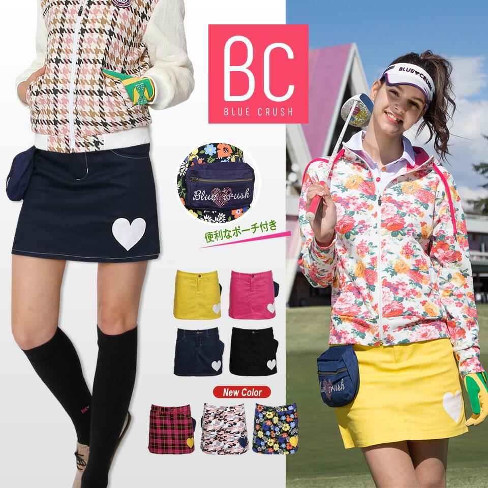 ゴルフウェア レディース ゴルフスカート 大きいサイズ ゴルフ スカート レディース 定番 インナーパンツ一体型スカート 無地 ブラック 黒 オフホワイト 白 イエロー ピンク ネイビー ボタニカル チェック おしゃれ golf ブルークラッシュ BLUECRUSH