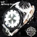 [Deep Zone] ディープゾーン/メンズ腕時計/ホワイトレザーブレスウォッチw/クロス コンチョ [AL-009]計/腕時計/男 腕…