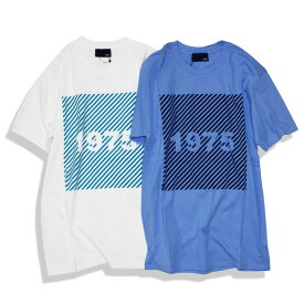 【セール】【50%OFF】1975 TOKYO SLANT STRIPE Tシャツ メンズ/レディース ホワイト/ブルー S-XL