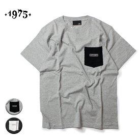 1975 TOKYO ポケットTシャツ メンズ/レディース グレー/ブラック M-XL【Tシャツ 半袖 カットソー バックプリント ポケT カジュアル サーフ ストリート ブランド ユニセックス 黒】
