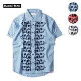 BACKHEADバックヘッド刺繍シャツメンズブルー/サーモンピンク/ホワイトS-L
