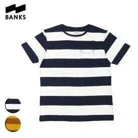 BANKS バンクス VIBES TEE メンズ/レディース ネイビーXホワイト/ブラウンXライトブラウン S-L ATS0364 OOO【Tシャツ 半袖 ポケット ポケT しましま カットソー サーフ系 サーフィン オーガニックコットン ブランド サーフ サーフファッション】