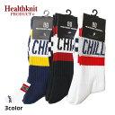 Healthknit Product ヘルスニットプロダクト チェッカーラインクルーソックス メンズ ネイビー/ブラック/ホワイト FREE 25-27cm【靴下 ソックス クルーソックス 長い ロゴ