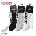 Healthknit Product ヘルスニットプロダクト バックラインクルーソックス メンズ ブラック/グレー/ホワイト FREE 25-27cm【靴下 ソックス クルーソックス 長い ロゴ デザ