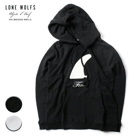 LONE WOLFS ローンウルフズ FINプリントHOOD メンズ/レディース ブラック/ホワイト S-L【パーカー プルオーバーパーカー スウェット スウェットパーカー フィン アメリカ カリフォルニア ブランド サーフ 黒 白】