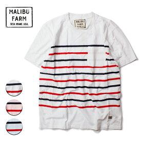 MALIBU FARM マリブファーム BORDER TEE レディース/メンズ ホワイト/ピンク/サックスブルー M-L【Tシャツ 半袖 カットソー おしゃれ ブランド サーフ リゾート アメカジ サーフファッション 白 青】